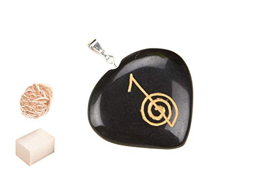 Blessfull Healing Reiki Spiritual Faith Healing Gemstone USUI Energy Black Tourmaline Heart Collar Colgante Con Rose Desert Selenite/Cube Selenite