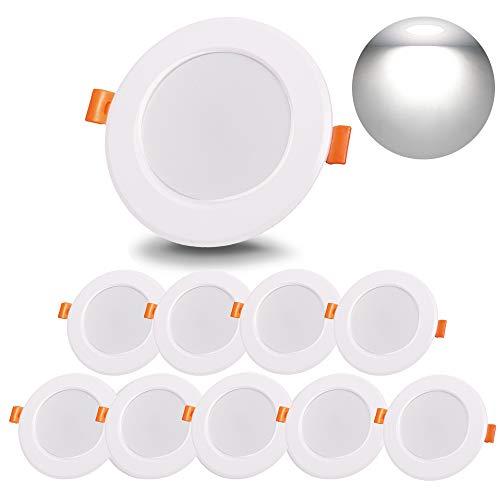 Spot Led Encastrable 8W, 220V Plafonnier Encastrable Étanche, 800LM Équivalent 80W Ampoule Halogène 6000K Blanc Froid, Idéal pour Salle de Bain Cuisine Salon Couloir (Lot de 10)