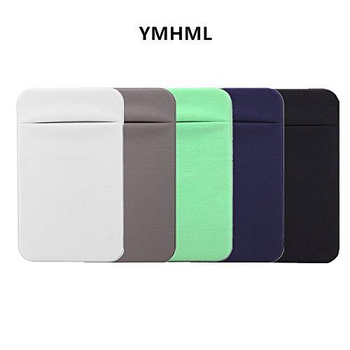 YMHML Slim Credit Card Holder for Back of Phone - Ultra Slim Lycra 3M Self Adhesive Phone Pocket Stick On Wallet for ID Credit Card Pocket (iPhone Android Galaxy) (White+Yellow+Green+Blue+Black)