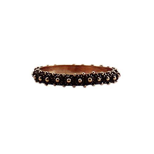 Anello in argento brunito rosè 925 fede filigrana tipo sarda lavorazione nido ape 1 fila (18)