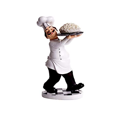 SMANTA Holding Plate of Pasta Decorative French Chef Figurine - Resin Home Countertop Table Decoration for Country Cottage Decor & Gourmet Kitchen Decorations