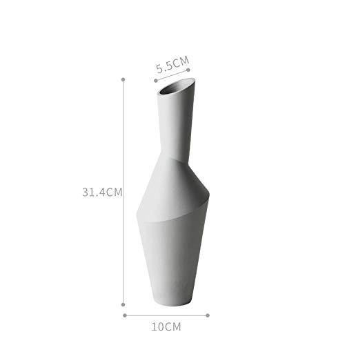 Vase 34Cm Keramik Geometrische Blumenvase Figuren Kreative Abstrakte Handwerk Weiche Dekoration Home Decor Ornament Grau