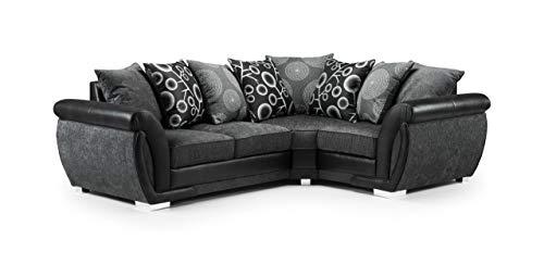 Honeypot - Sofa - Shannon - 3 Seater - 2 Seater - Armchair - Swivel chair - Corner - Black - Brown/Beige - Fabric (Right Hand Corner, Black)