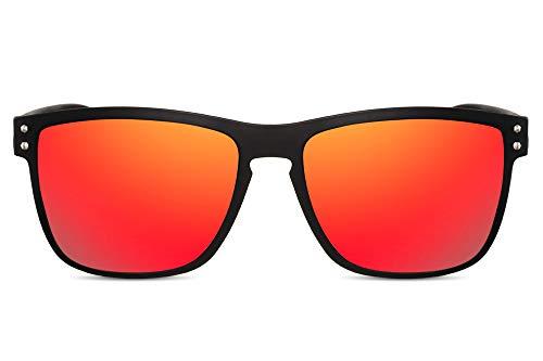 Cheapass Gafas de Sol Deportivas Gafas Montura Negra Mate con Cristales Rojos Espejados para Hombre con 100% Protección UV400