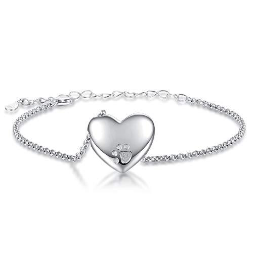 JZCOLOR   Sterling Silver Urn Bracelet Charm   Cremated Ashes Bracelet Holder with Mini Pawprint