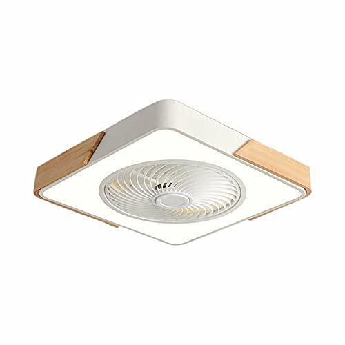 Ventilatore da soffitto con illuminazione a LED, quadrato, luce per soggiorno, lampadario + telecomando