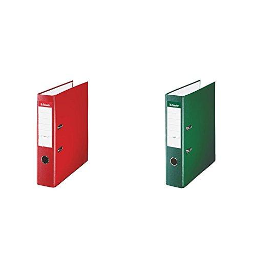 Esselte 42301 - Archivador de palanca, rojo, anchura lomo: 75 mm + Esselte 42302 - Archivador de palanca, verde, anchura lomo: 75...