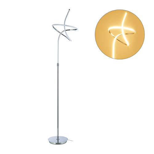 Relaxdays LED Stehlampe, ausgefallenes & modernes, Wohnzimmer, Metall, Stehleuchte, HxD: 180 x 33 cm, silber, Design A