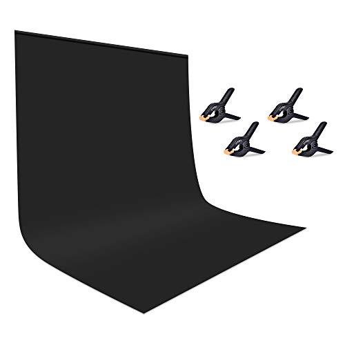 UTEBIT Hintergrund Schwarz Tuch 1.8x2.8M / 6x9FT Fotohintergrund Black Background Backdrop Faltbare Hintergrundstoff Blackscreen mit Stangentasche für Hintergrundsystem Fotografie Videoaufnahme