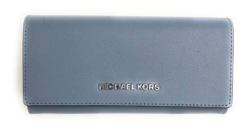 Michael Kors Geldbörse - Portmonee - Clutch - 20x10x3cm - Saffian-Leder - Jet Set Travel - Damen - Blau - Weiß - Rot (Hellblau)