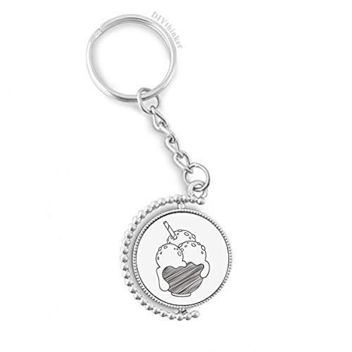 DIYthinker Schwarze Schüssel Biscuits EIS Ball Drehbare Schlüsselanhänger Ringe 1.2 Zoll x 3.5 Zoll Mehrfarbig