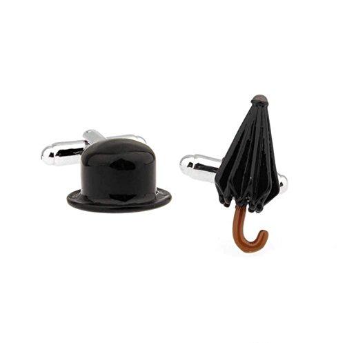 Ducomi Linea Gemelli da Polso in Argento e Oro Placato - Gemelli Uomo Ultraleggeri per Camicia - Originali di Alta qualità - Idea Regalo Modello Ombrello
