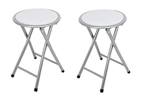 La Silla Espanola Palma Pack de Taburetes Plegables Acolchados, Aluminio, Blanco, 30x30x45 cm, 2 Unidades