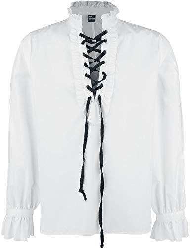 Banned Alternative Rüschenhemd mit Schnürung Männer Langarmhemd weiß L