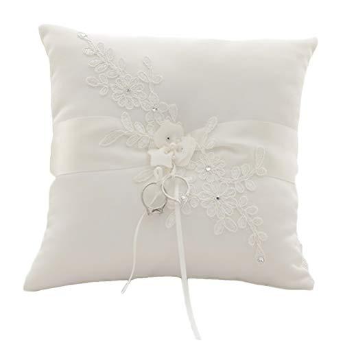 Xyjie Lace Pearl avorio raso fiore matrimonio anello portatore cuscino 21cm x 21cm per nozze decorativo