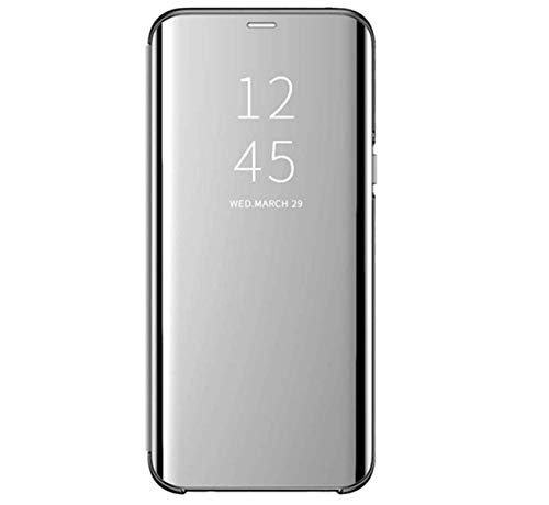 Custodia per Samsung Galaxy M31S Cover Samsung Galaxy M31S Protezione a 360 Gradi Clear View Cover Protettiva Ultra-Sottile Mirror Screen Flip Placca Stand Case (M31S, Argento)