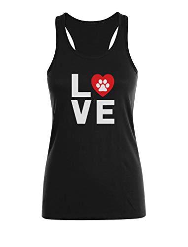 Camiseta sin Mangas para Mujer - Love Dogs - Idea de Regalo de Cumpleaños, Navidad, Fecha Especial Medium Negro