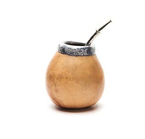 BALIBETOV Nouveau ensemble de maté naturel de calebasse (tasse à maté - Mate gourde) fabriqué à la main - avec Bombilla (sorbet) pour boire le maté de yerba (NATUREL)