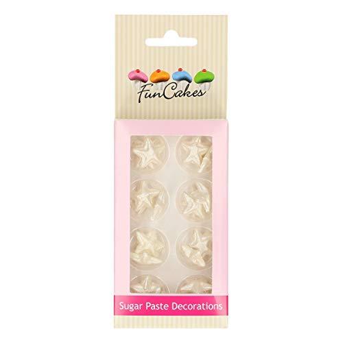 FunCakes Decoraciones de Azúcar Estrellas Listo Para ser Usar en la Decoración de Tartas, Perfecto para Cupcakes Temáticas y más, Certificado Sin Gluten, Set/24