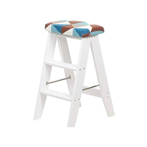 Inklapbare trap, 3 stappen, de houten pedaal ladder, keukenkantoor-bibliotheek-trapstoel, klimbare ladder-hoge klem, het afneembare kussen vouwt D