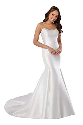 Melisa Women's Sweetheart Beach Wedding Dresses for Bride with Chapel Train Off The Shoulder Satin Bridal Gowns Ivory
