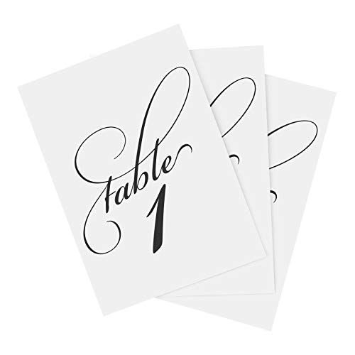 Bliss Collections Classic Black Table Numbers 1-25 Plus Head Table Card - 4x6 Double-Sided Cards for Your Wedding, Reception, Anniversary, Birthday Party or Celebration, Black Font, White Card Stock