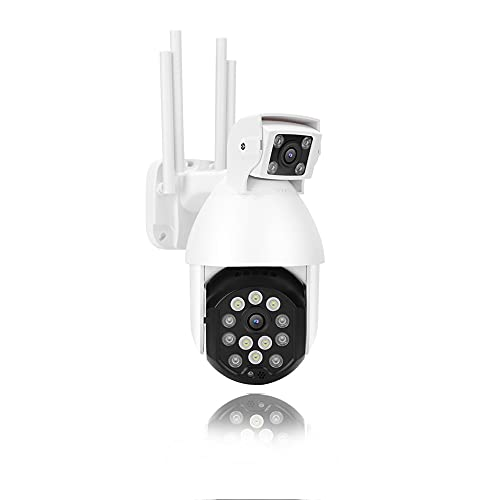 1080P Bewakingscamera voor buiten, WIFI Bewakingscamera met dubbele lens Kleur Nachtzicht/Auto Motion Tracking/IP66 Waterbestendig/Tweeweg Audio PTZ-camera(ME)
