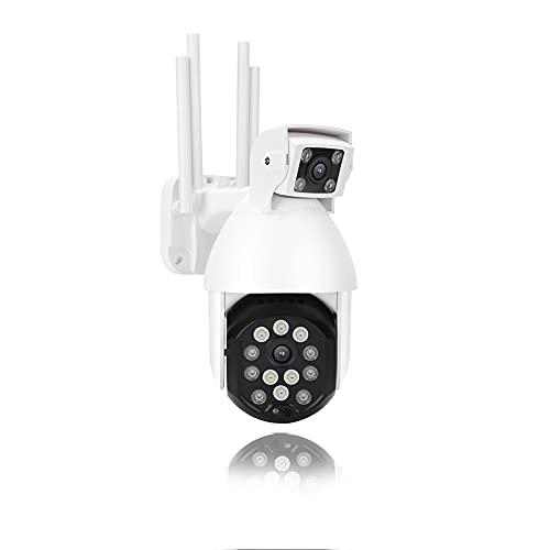 Cámara de Seguridad para Exteriores 1080P, cámara de vigilancia de Doble Lente WiFi, visión Nocturna en Color/Seguimiento automático de movimiento/IP66 a Prueba de Agua/Audio bidireccion(EU)