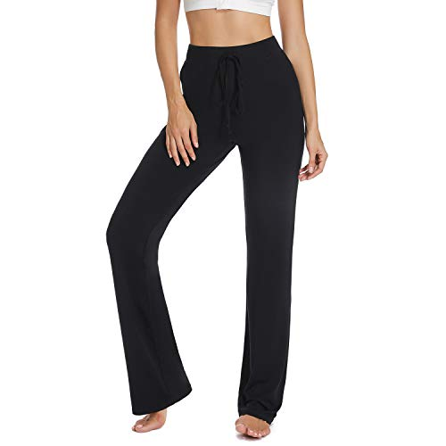 FITTOO Women High Waist Plain Boot Cut Yoga Pants Flared Trousers with Adjustable Drawstring Black S