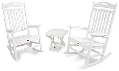Trex Outdoor Furniture TXS121-1-CW Yacht Club 3-Piece Rocker Chair Set, Classic White by Trex Outdoor Furniture