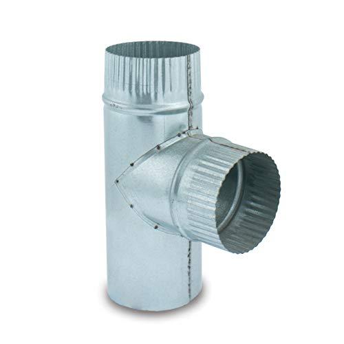 Te 90º acero galvanizado para sistemas de ventilación y extracción, chimeneas y estufas de leña y pellet, autoconectable (120 mm)