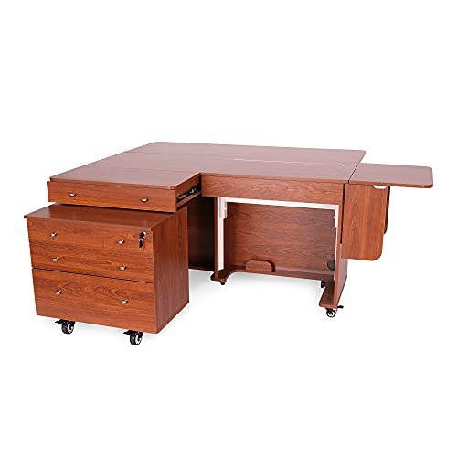 Big Sale Kangaroo Kabinets K8805 Kangaroo and Joey, Sewing Cabinent and Three Drawer Storage Unit, Teak