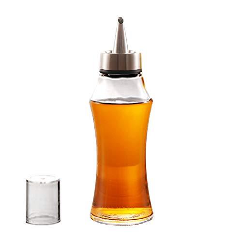Houdian Dispensador de Aceite y Vinagre 400ML, Botella de Vidrio de Aceite de Oliva Botella Dispensadora de Aceite de Oliva - Sin BPA, a Prueba de Fugas y Apto para lavavajillas