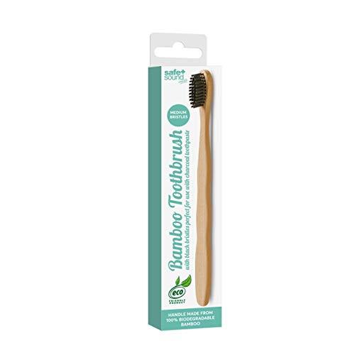 Safe + Sound - Cepillo de dientes biodegradable de bambú con carbón (21 g)