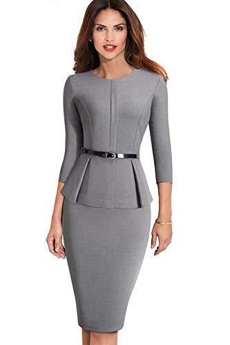 Babyonlinedress® Business Kleider Damen Rundhals Enges Kleid Arbeiten Minikleid Langarm Skaterkleid Einteiler Grau