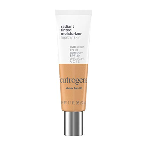 Neutrogena Healthy Skin Radiant Tinted Facial Moisturizer with Broad Spectrum SPF 30 Sunscreen Vitamins A, C, & E, Lightweight, Sheer, & Oil-Free Coverage, Sheer Tan 30, 1.1 fl. oz