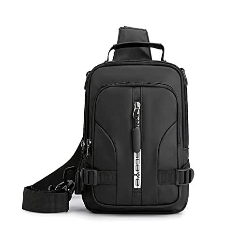 JDJD Bolso De Pecho Daypack Hombres Nylon Cross Body Bag Bolso con USB Puerto De Carga Masculina Messenger Bolsa De Pecho Daypack Knapsack (Color : Black, Size : 15 * 8 * 23cm)