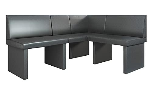 Vladon Sitzmöbel Eckbank Dallas 170 x 81,5 x 129 cm gepolsterte Kunstleder-Sitzbank in Anthrazit