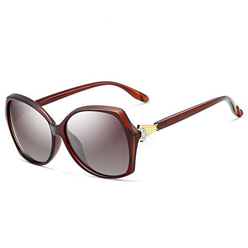 XIELH Gafas de sol Gafas De Sol Mujer Polarizado Moda Caja Grande Gafas Conductor Espejos De Conducción Colorido Antideslumbrante Pesca Señoras Gafas De Sol, Granate