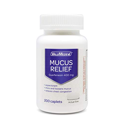 ValuMeds Mucus Relief Caplets Guaifenesin 400mg (200 Caplets) | Chest Congestion and Decongestant | Thins and Loosens Buildup | Fast Acting