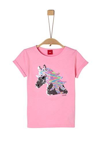 s.Oliver Mädchen Jerseyshirt mit Einhorn-Pailletten pink 104/110.REG