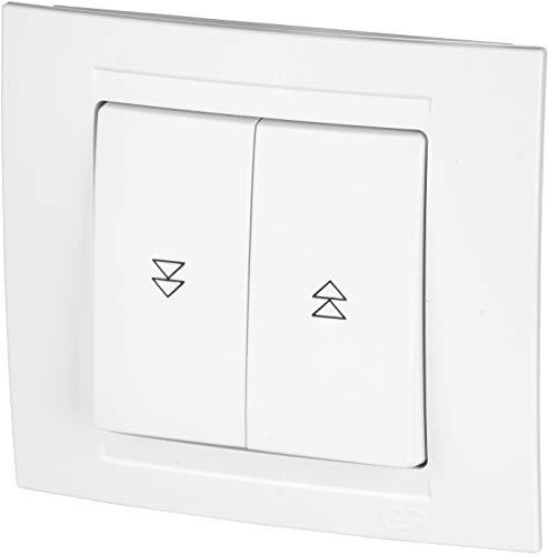Interruptor de persiana todo en uno, marco + pieza empotrada + cubierta (Serie M1 blanco puro)