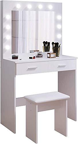 Vanidad de la lámpara LED de espejo de la cómoda cajones grandes y taburetes,White