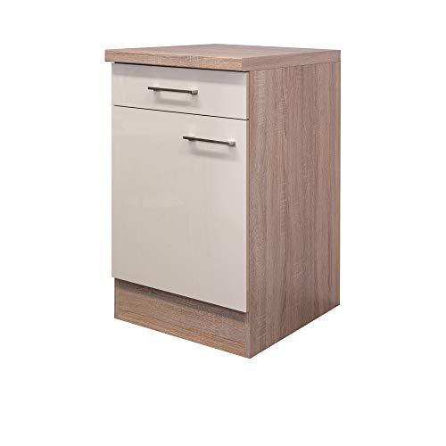 Flex-Well Unterschrank NEPAL - Küchenschrank - 1-türig - 1 Schublade - Breite 50 cm - Creme glänzend/Eiche Sonoma