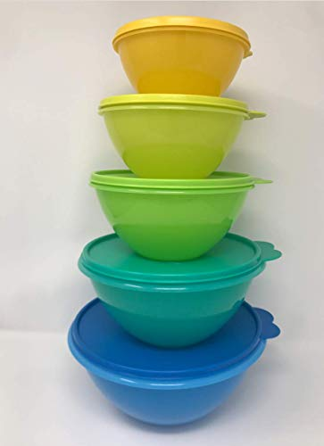 Tupperware Wonderlier 5 Pc Bowl Set in Blue Green Yellow
