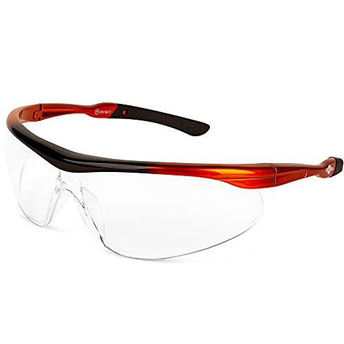 ToolFreak Agent Safety Glasses, Clear Wraparound Lens, U6 UV and Impact Rating to ANSI z87.1, Pouch and Neck Cord