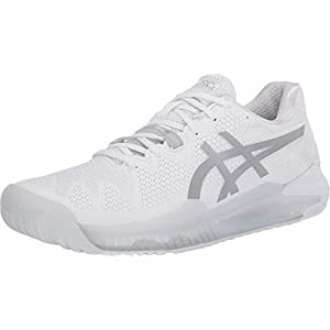 ASICS Women's Gel-Resolution 8 Tennis Shoes, 8.5, White/Pure Silver