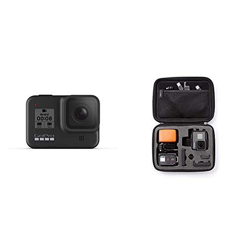 GoPro HERO8 Black - wasserdichte 4K-Digitalkamera mit Hypersmooth-Stabilisierung, Touchscreen und Sprachsteuerung - Live-HD-Streaming & AmazonBasics Tragetasche für GoPro Actionkameras, Gr. S