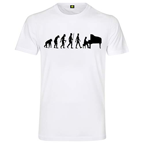 Evolution Klavier T-Shirt | Piano | Flügel Pianino | Auftritt | Band | Spielen Weiß M
