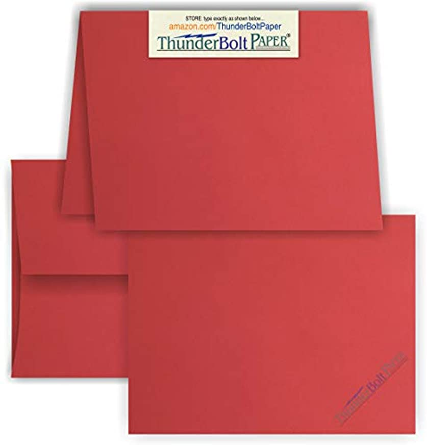 5X7 Folded Size with A-7 Envelopes - Bright Apple Red - 25 Sets (7X10 Cards Scored to Fold in Half) - White Labels - Matching Pack - Invitations, Greeting, Thank Yous, Notes, Holidays, Weddings